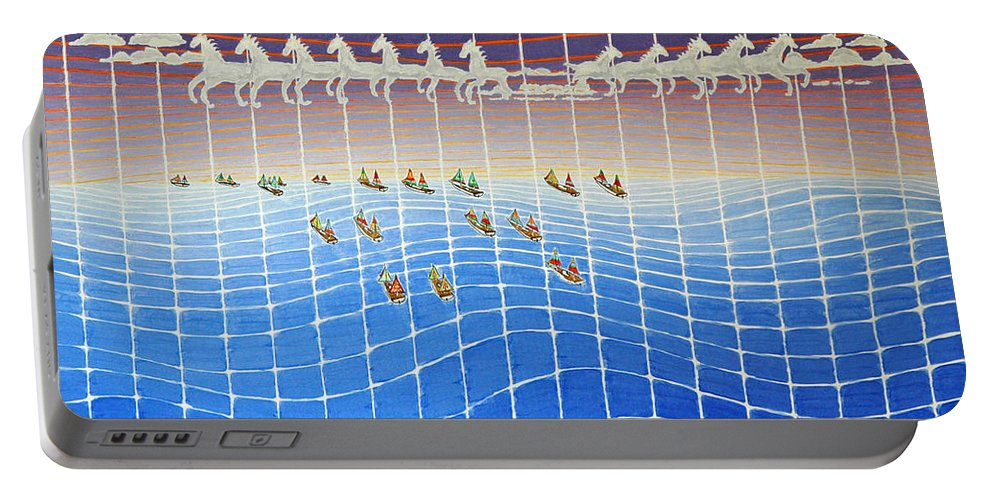 3d Portable Battery Charger featuring the painting Schooner Race Horse Clouds by Jesse Jackson Brown
