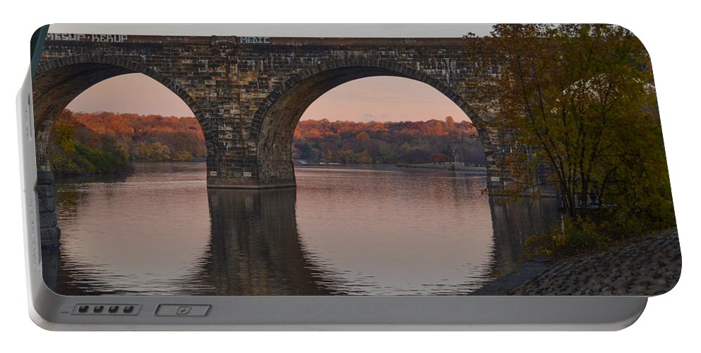 Schuylkill Portable Battery Charger featuring the photograph Schuylkill River Railroad Bridge In Autumn by Bill Cannon