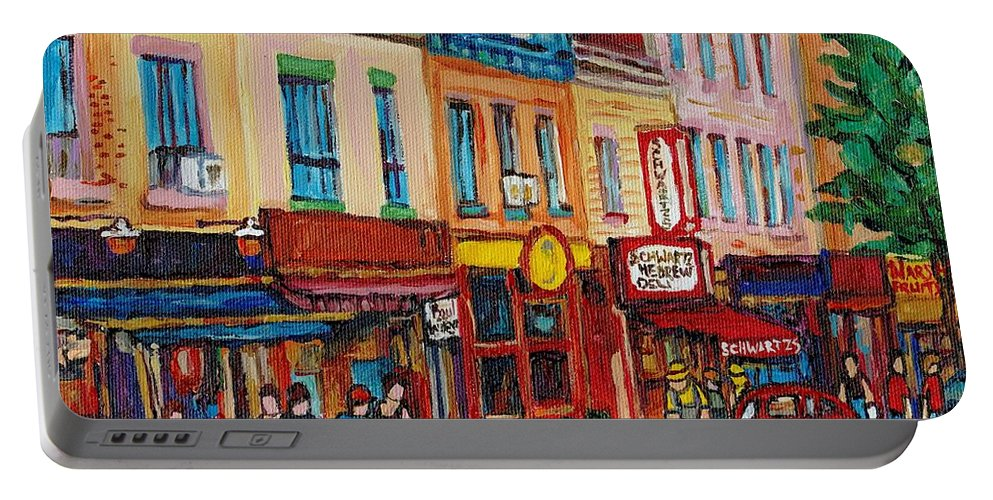 Schwartz Deli Portable Battery Charger featuring the painting Schwartzs Deli And Warshaw Fruit Store Montreal Landmarks On St Lawrence Street by Carole Spandau