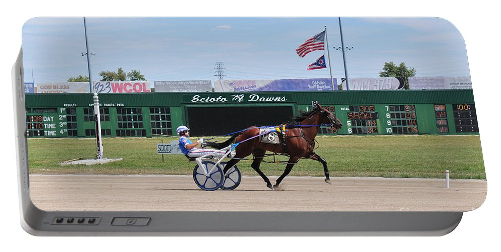 Harness Racing Portable Battery Charger featuring the photograph D3w-206 Scioto Downs Photo by Ohio Stock Photography