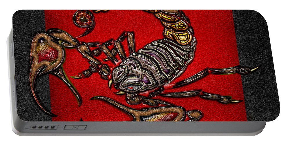 'beasts Creatures And Critters' Collection By Serge Averbukh Portable Battery Charger featuring the digital art Scorpion On Red And Black Leather by Serge Averbukh