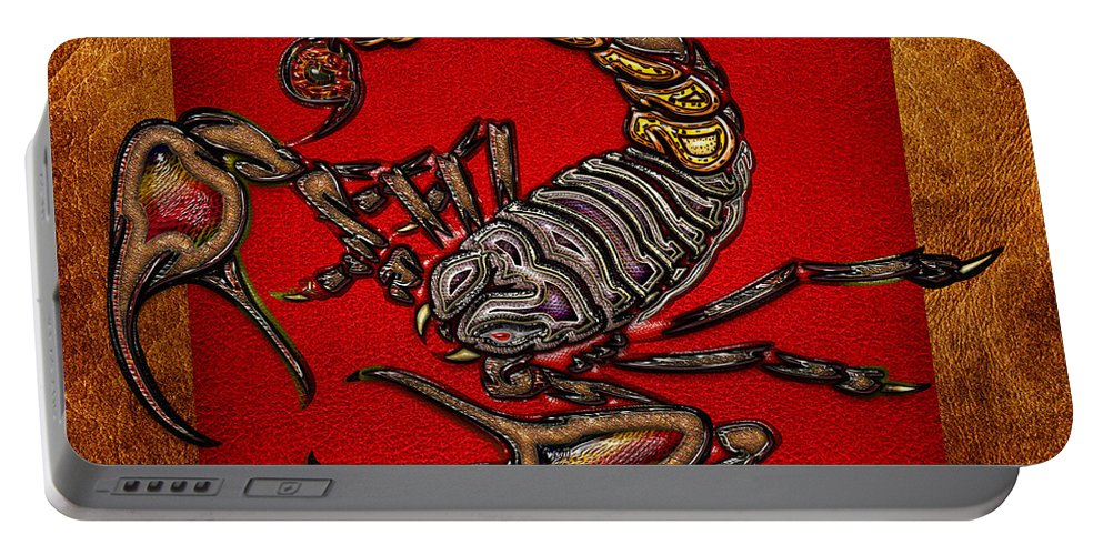 'beasts Creatures And Critters' Collection By Serge Averbukh Portable Battery Charger featuring the digital art Scorpion On Red And Brown Leather by Serge Averbukh