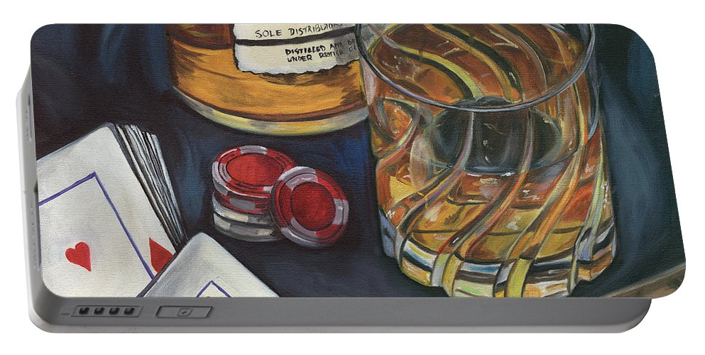 Scotch Portable Battery Charger featuring the painting Scotch And Cigars 4 by Debbie DeWitt