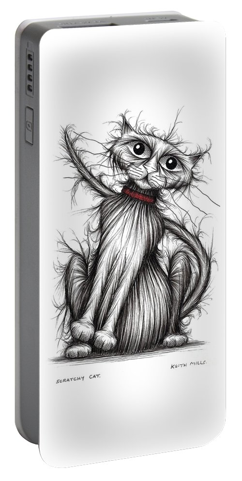 Cat Portable Battery Charger featuring the drawing Scratchy Cat by Keith Mills