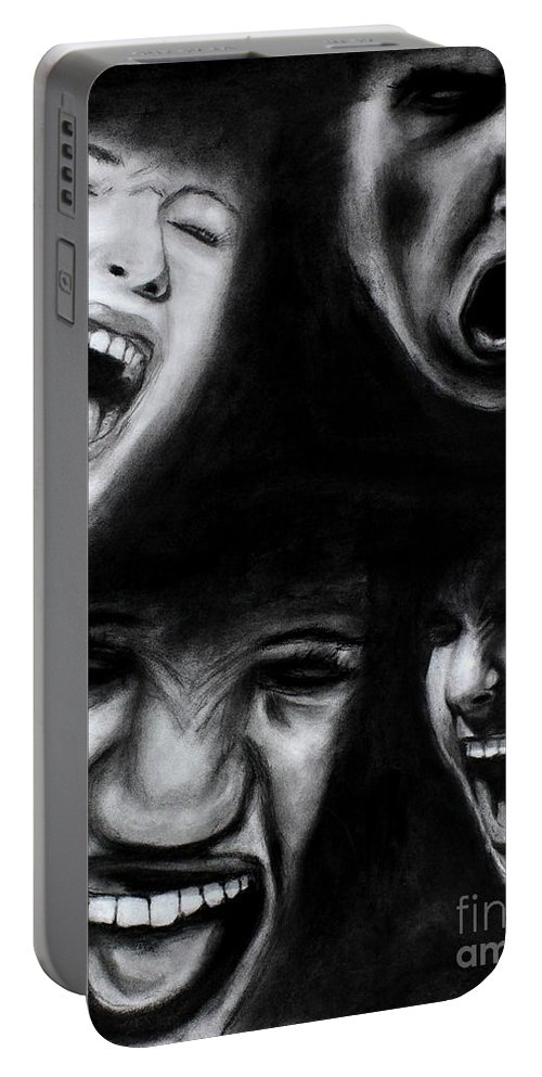 Scream Portable Battery Charger featuring the drawing Scream by Michael Cross