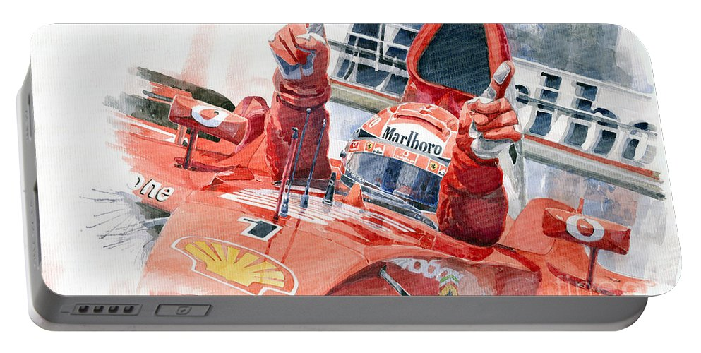 Watercolor Portable Battery Charger featuring the painting 2001 Scuderia Ferrari Marlboro F 2001 Ferrari 050 M Schumacher by Yuriy Shevchuk
