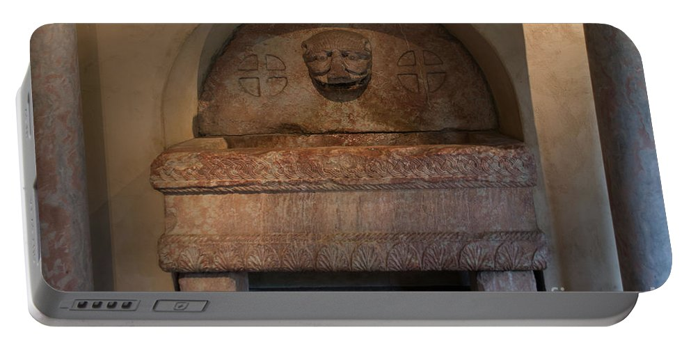 Church Portable Battery Charger featuring the digital art Sculpture At The Cloisters by Carol Ailles