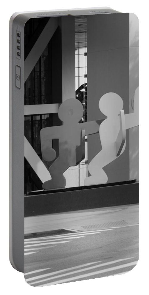 Art Portable Battery Charger featuring the photograph Sculpture On State Street In Black And White by Rob Hans