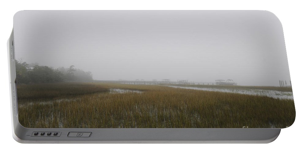 Fog Portable Battery Charger featuring the photograph Wando River Sea Fog by Dale Powell