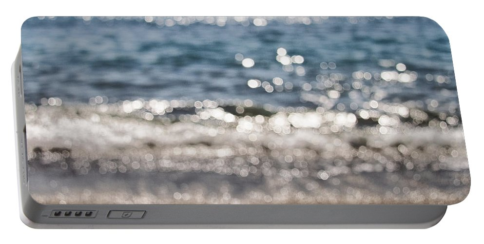 Abstract Portable Battery Charger featuring the photograph Sea Glitter by Stelios Kleanthous