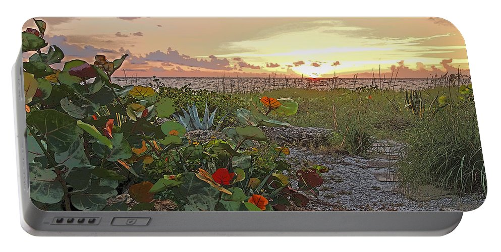 Sea Grapes Portable Battery Charger featuring the photograph Sea Grapes And Sunset Sanibel Island by Rebecca Korpita