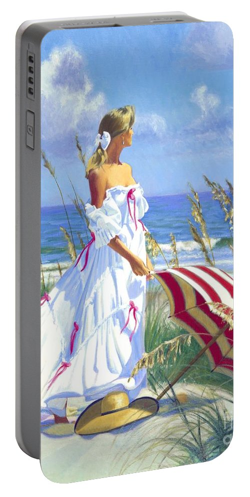 Impressionist Portable Battery Charger featuring the painting Sea Oats by Candace Lovely