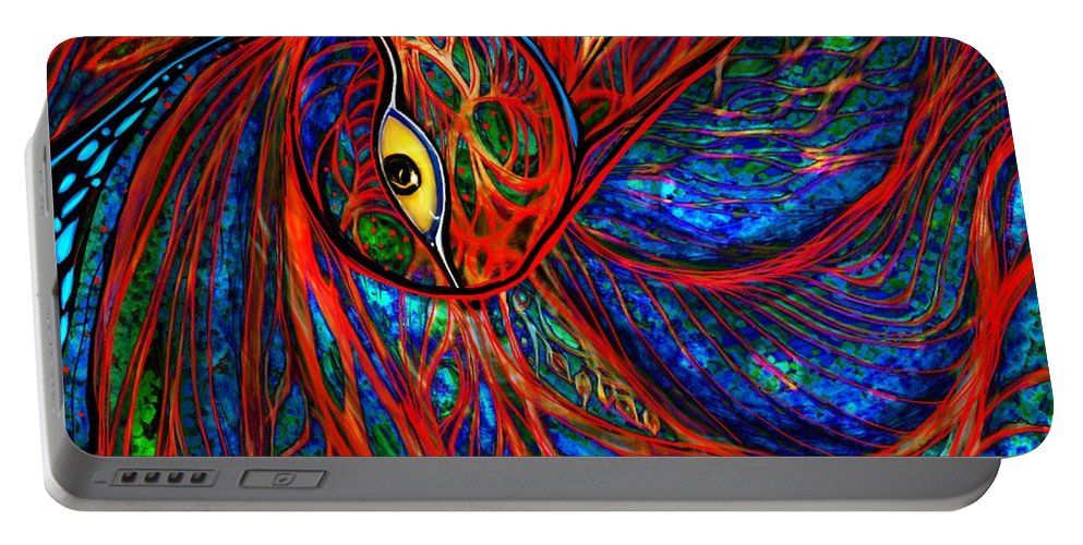 Peacock Portable Battery Charger featuring the digital art Sea Of Peacock by Mary Eichert