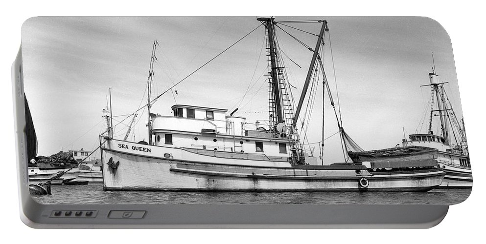 Monterey Harbor Portable Battery Charger featuring the photograph Purse Seiner Sea Queen Monterey Harbor California Fishing Boat Purse Seiner by California Views Mr Pat Hathaway Archives