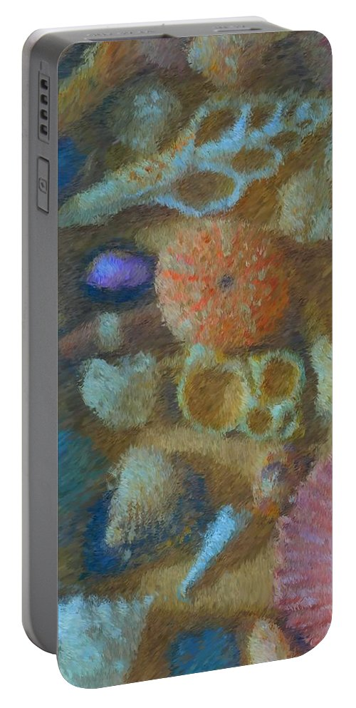 Sea Shells Portable Battery Charger featuring the mixed media Sea Shells by Tom Druin