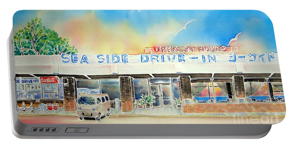 Resteurant Portable Battery Charger featuring the painting Sea Side Drive In by Hisayo Ohta