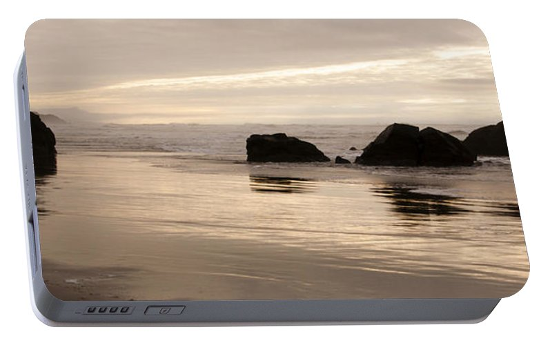Sunset Portable Battery Charger featuring the photograph Sea Stacks Panorama by Vivian Christopher