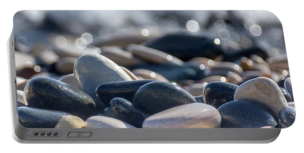 Abstract Portable Battery Charger featuring the photograph Sea Stones by Stelios Kleanthous
