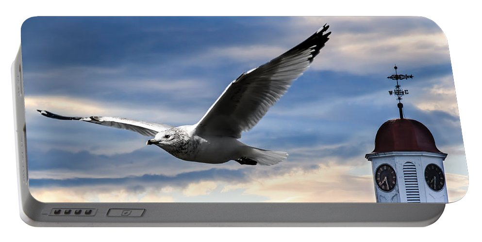 Seagull Portable Battery Charger featuring the photograph Seagull And Clock Tower by Bob Orsillo