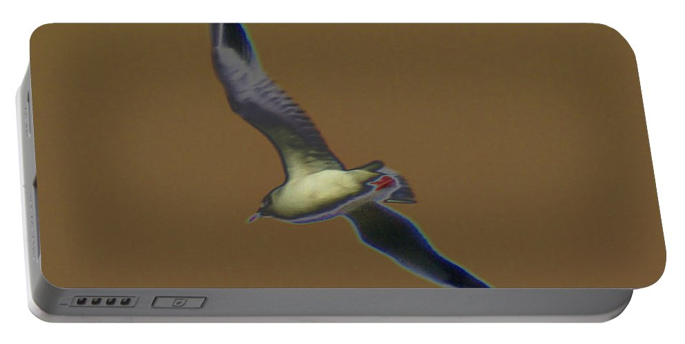 Bird Portable Battery Charger featuring the digital art Seagull by Carol Lynch