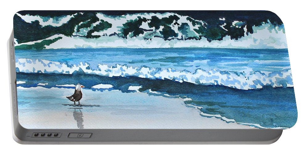 Landscape Portable Battery Charger featuring the painting Seagull In The Sand by Tricia Lesky