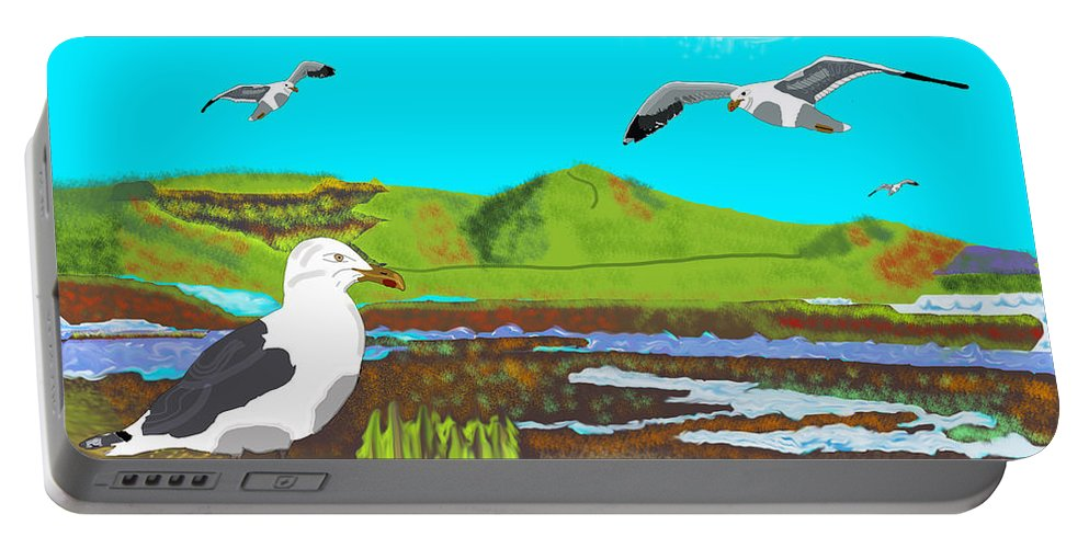 Birds Portable Battery Charger featuring the mixed media Seagulls by Paul Fields