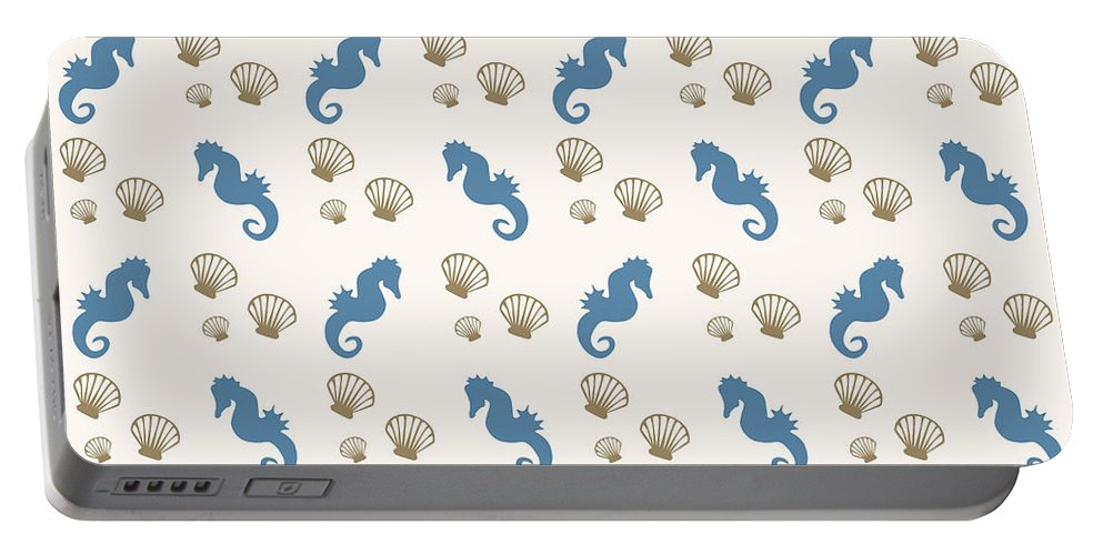 Seahorse Portable Battery Charger featuring the mixed media Seahorse And Shells Pattern by Christina Rollo