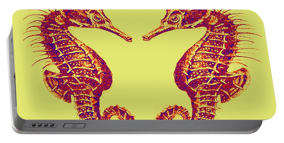 Sea Portable Battery Charger featuring the digital art Seahorses In Love by Jane Schnetlage