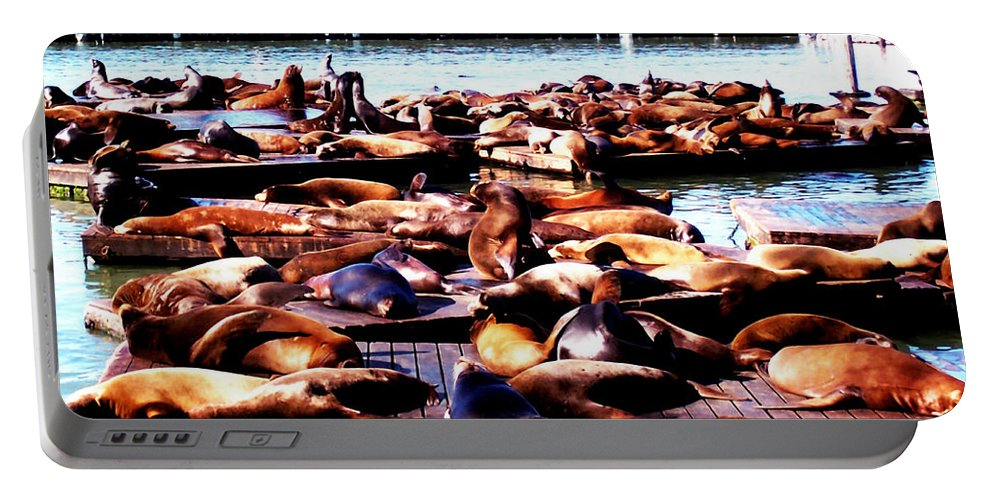Animal Portable Battery Charger featuring the photograph Seal Wharf by Glenn Aker