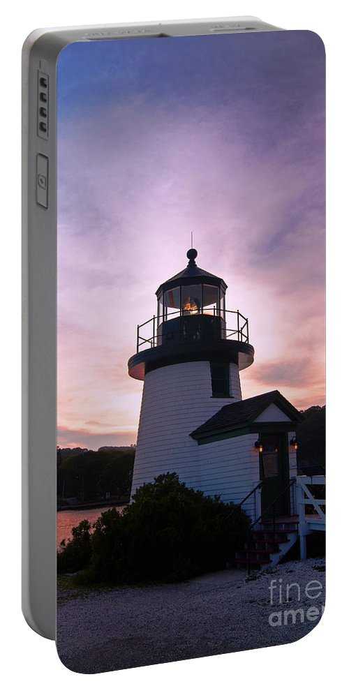 Lighthouse Portable Battery Charger featuring the photograph Seaport Nightlight by Joe Geraci