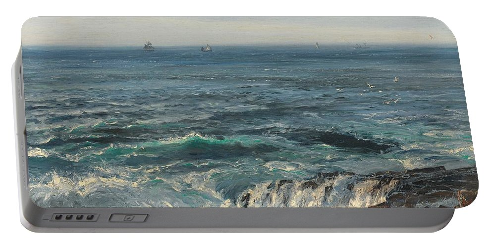 Seascape; Sea; Water; Coast; Coastal; Rocks; Rocky; Wave; Waves; Foam; Boat; Boats; Ship; Ships Portable Battery Charger featuring the painting Seascape 1877 by Henry Moore