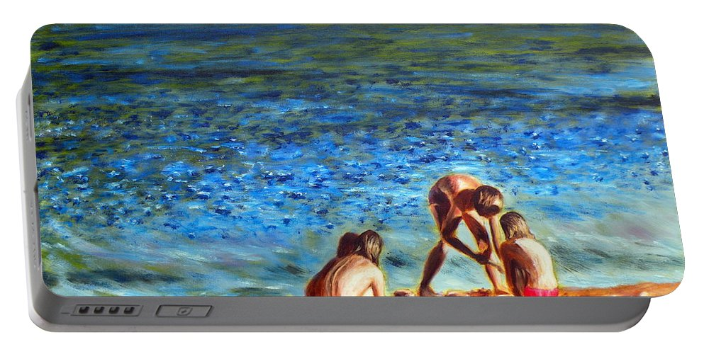 Seascape Portable Battery Charger featuring the painting Seascape Series 3 by Uma Krishnamoorthy