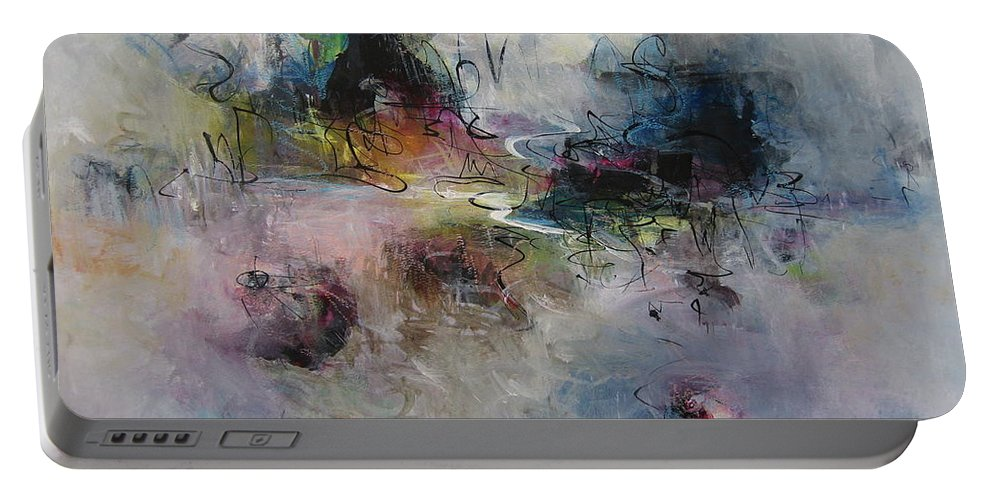 Abstract Purple Paintings Portable Battery Charger featuring the painting Seascape00033 by Seon-Jeong Kim