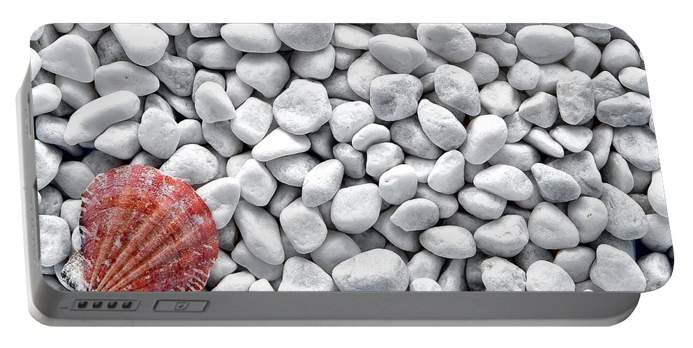 Seashell Portable Battery Charger featuring the photograph Seashell On White Pebbles by Olivier Le Queinec