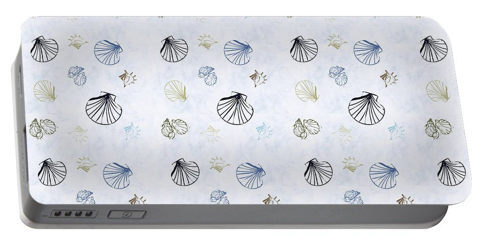 Seashell Portable Battery Charger featuring the mixed media Seashell Pattern by Christina Rollo