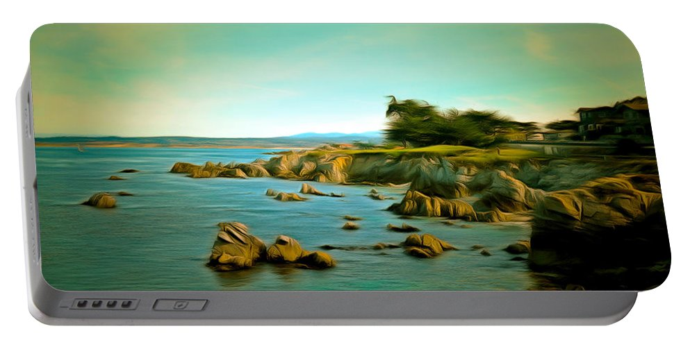 Barbara Snyder Portable Battery Charger featuring the painting Seaside In The Distance Digital by Barbara Snyder