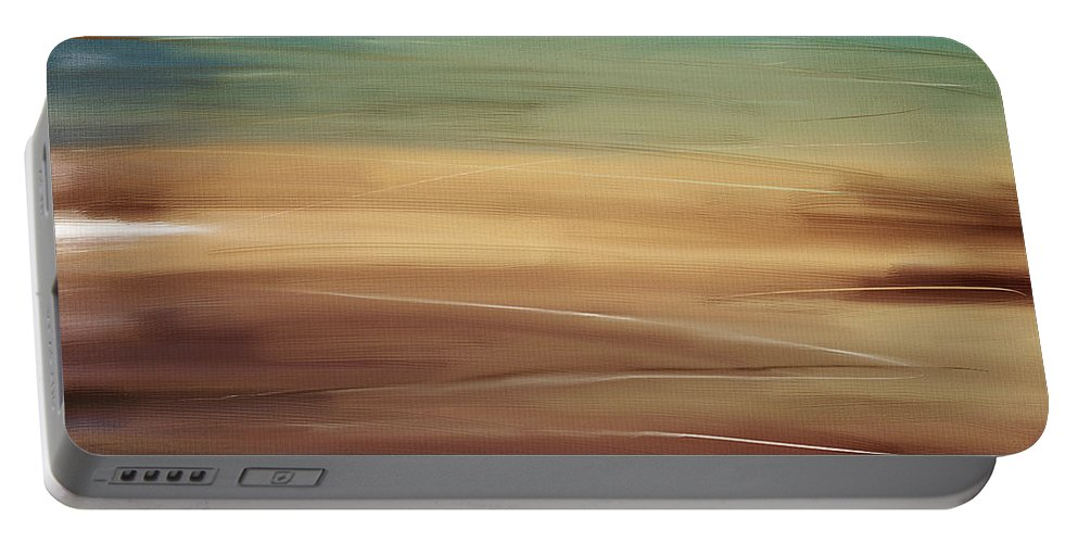 Seascapes Abstract Portable Battery Charger featuring the digital art Seaside by Lourry Legarde