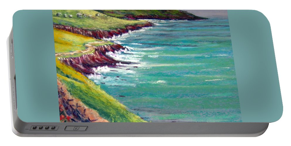 Marsh Portable Battery Charger featuring the painting Seaside Path by Julia RIETZ