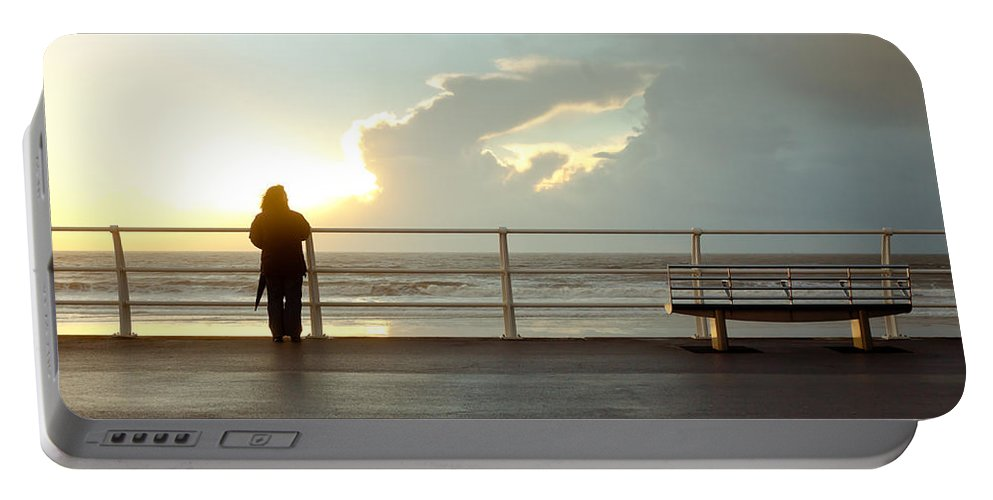 Aberavon Portable Battery Charger featuring the photograph Seaside Person by Tom Gowanlock
