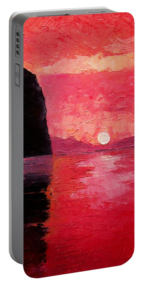 Landscape Portable Battery Charger featuring the painting Seaside Sunset by Sergey Bezhinets