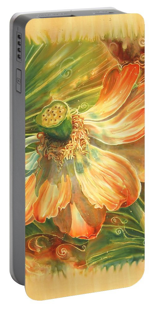 Flower Portable Battery Charger featuring the painting Season's End by Deborah Younglao