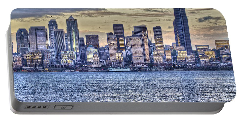 Sunset Portable Battery Charger featuring the photograph Seattle At Twilight From Alki Beach by SC Heffner