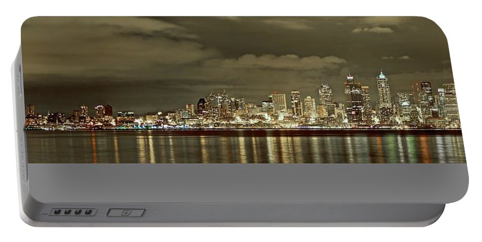 Night Photo Portable Battery Charger featuring the photograph Seattle Lights At Night From Alki by SC Heffner