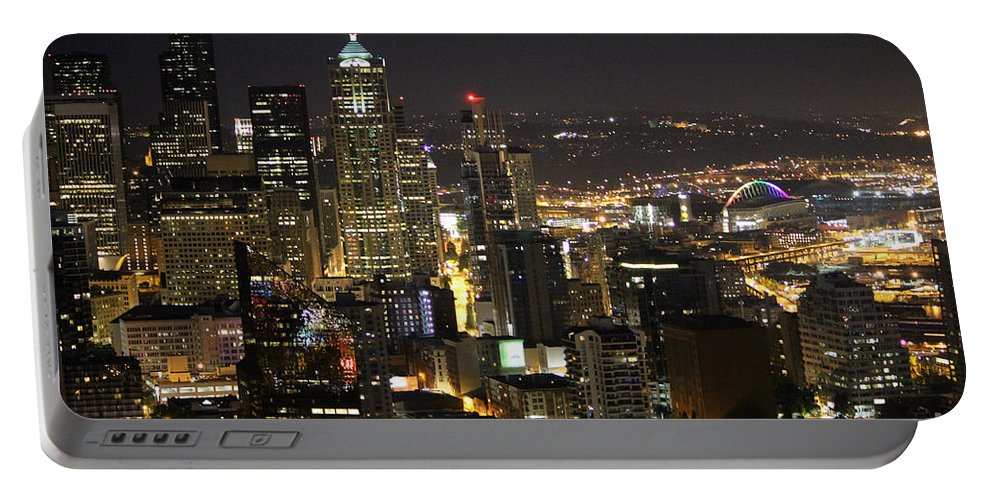 City Life Portable Battery Charger featuring the photograph Seattle Skyline At Night by Stacey May