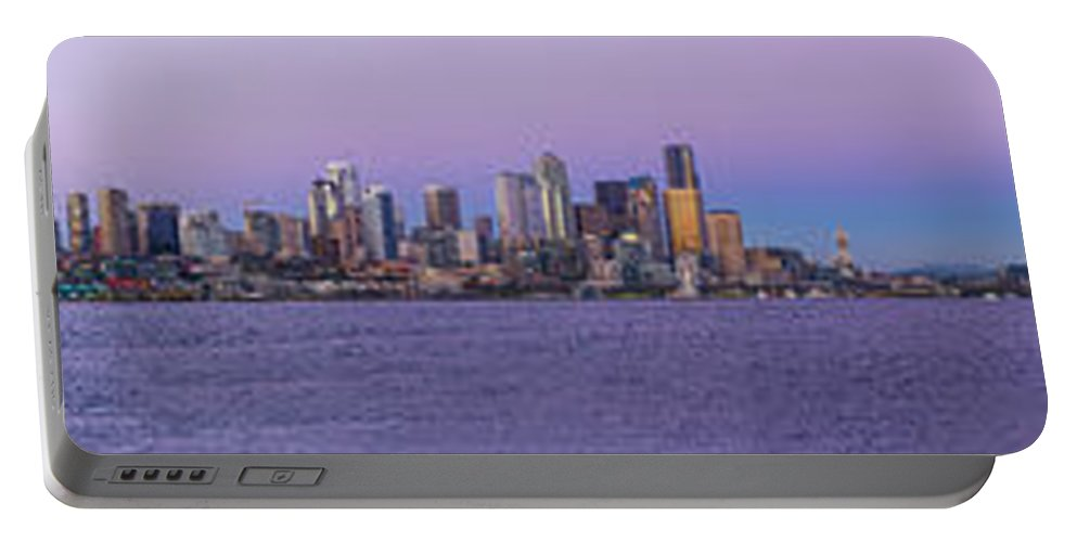 Seattle Portable Battery Charger featuring the photograph Seattle Skyline Panorama - Massive by Scott Campbell