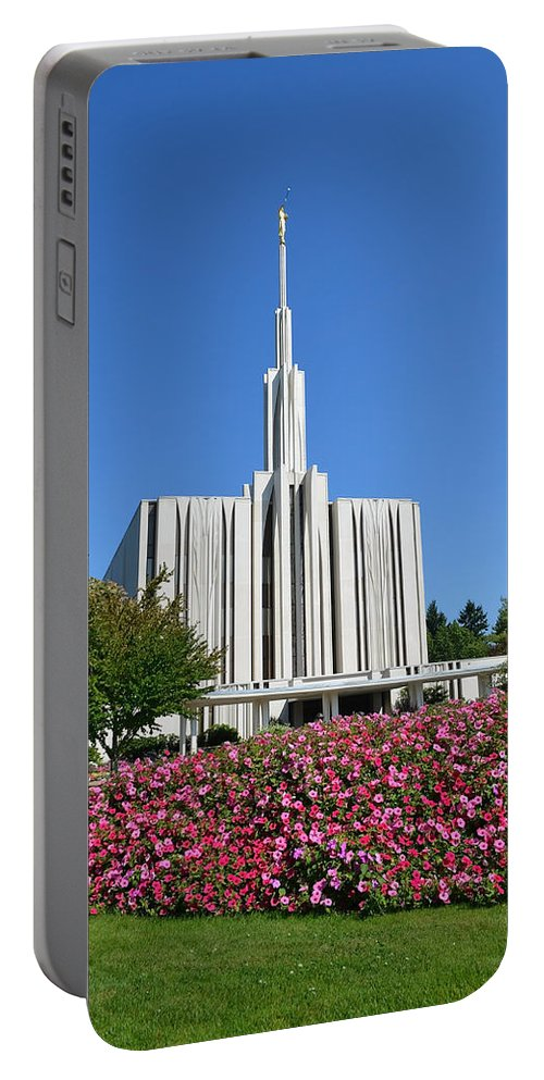 Seattle Portable Battery Charger featuring the photograph Seattle Temple by Shanna Hyatt