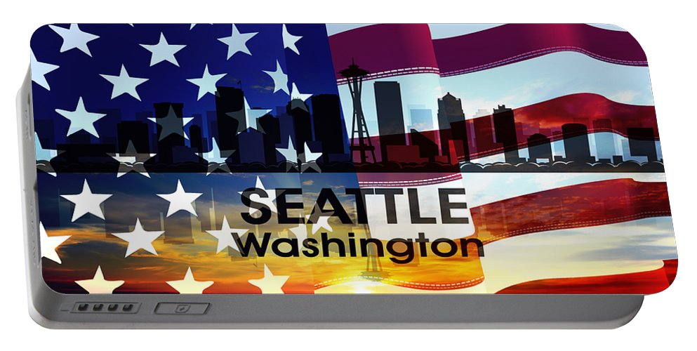 Portable Battery Charger featuring the mixed media Seattle Wa Patriotic Large Cityscape by Angelina Vick