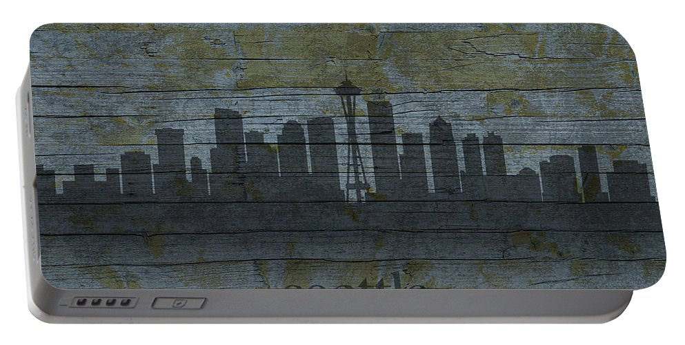 Seattle Portable Battery Charger featuring the mixed media Seattle Washington City Skyline Silhouette Distressed On Worn Peeling Wood by Design Turnpike