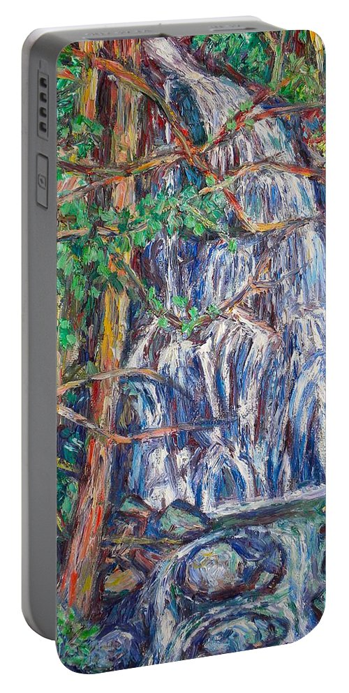 Waterfall Portable Battery Charger featuring the painting Secluded Waterfall by Kendall Kessler