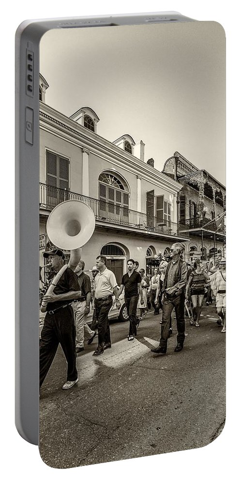 French Quarter Portable Battery Charger featuring the photograph Second Line Monochrome by Steve Harrington